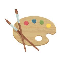 絵の具のパレットと筆