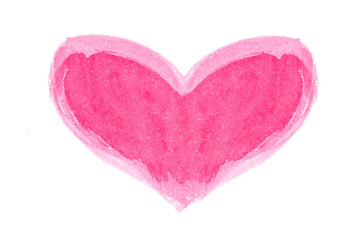Hand drawn heart .Watercolor heart isolated. Natural texture of paint on the paper