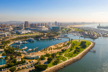 Wall Mural - Aerial panoramic view of the Long Beach coastline, harbour, skyline and Marina in Long Beach with Palm Trees,. Beautiful Los Angeles.