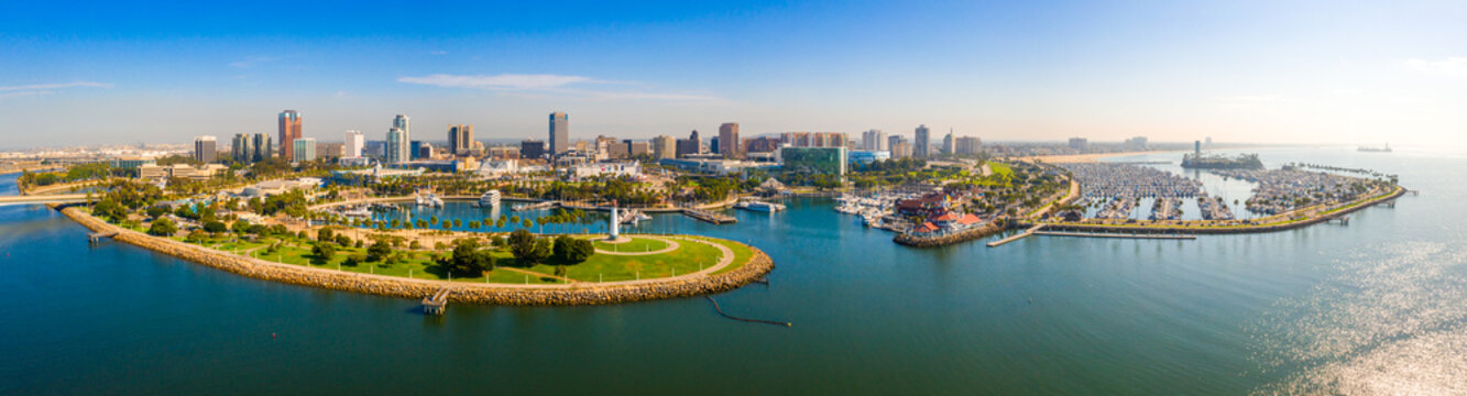 Aerial panoramic view of the Long Beach coastline, harbour, skyline and Marina in Long Beach with Palm Trees,. Beautiful Los Angeles.