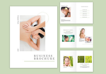 Minimal Brochure Layout with Green Accents