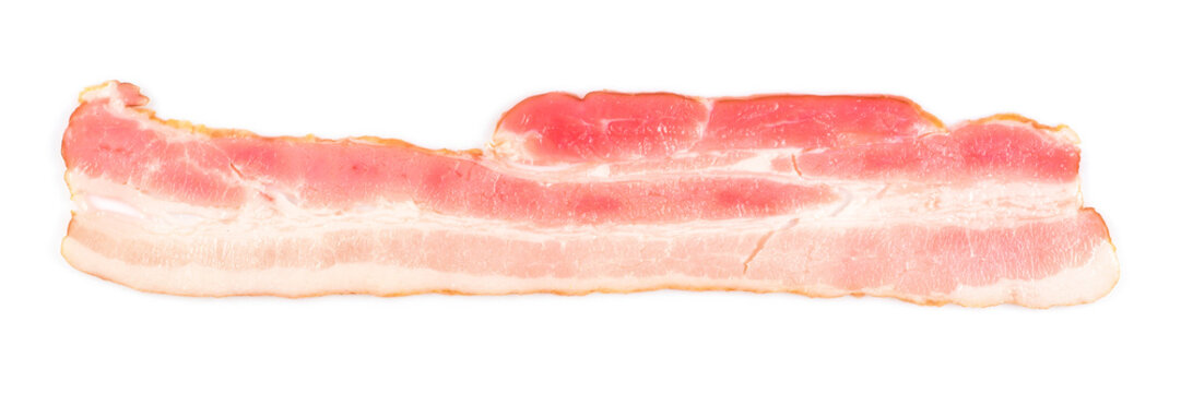 Rasher or sliced bacon ready for cooking. One piece of pork belly isolated on white background, banner size close-up.
