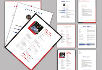 Red and Blue Resume Layout Set