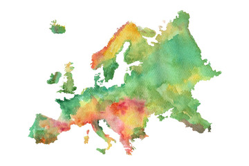 Sketch of the map of Europe painted with watercolor paints