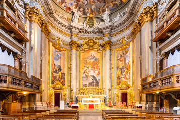 Picturesque interior of church of St. Ignatius of Loyola at Campus Martius Fotomurales
