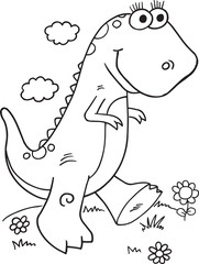 Door stickers Cartoon draw Cute Dinosaur Illustration Vector Art