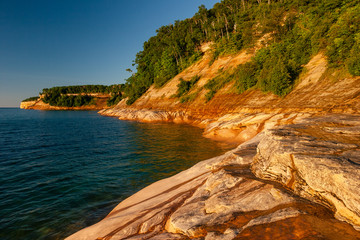 Garden Poster Night blue sunset at pictured rocks, Lake Superior, Michigan