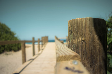 Wooden bridge at the beach