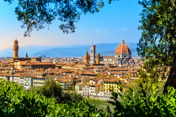 Tuinposter Florence Florence, Italy: scenic view on famous italian town with Duomo at sunset with green leaves