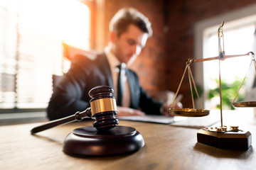 Lawyer working in office. Law and justice concept