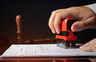 Attorney working with documents in office