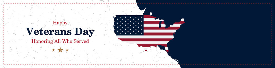 Happy Veterans Day. Greeting card with USA flag and map on background with texture. National American holiday event. Flat vector illustration EPS10
