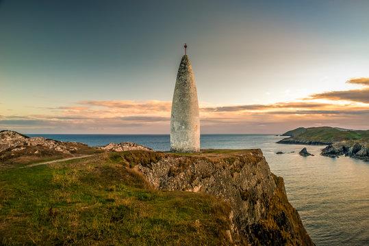 Irish Landmark Beacon West Cork hill cliff sunset Ireland monument