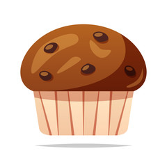 Chocolate muffin vector isolated illustration