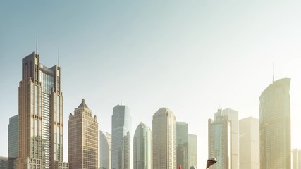 Fotomurales - hyper lapse, skyscrapes in lujiazui financial center, Shanghai, China