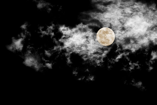 moon with textured cloud,Abstract black,isolated on black background