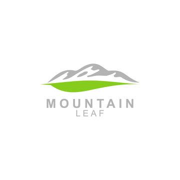 Mountain leaf logo design illustration. Mountain logo desain with leaf. Vector icon
