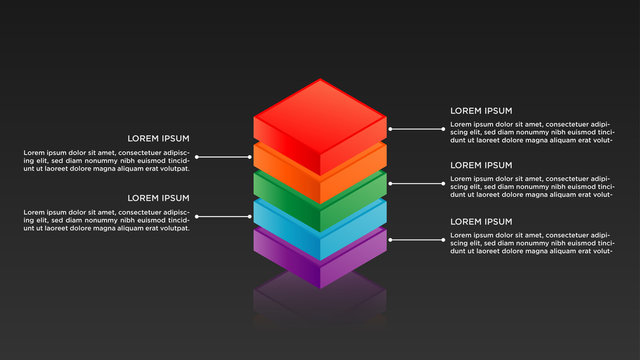 3d isometric Infographic design with gradient and paper shadow effect 5 options or steps. Infographics business concept.