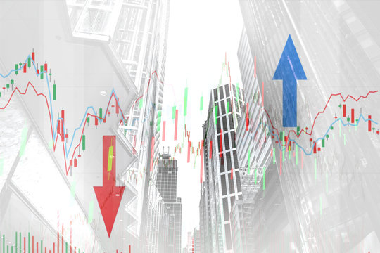 Stock index graph and chart in modern building background (red bear chart)