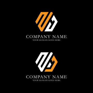 ZJ logo vector, initial name logo inspiration, hexagonal logo template