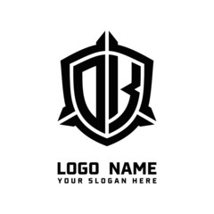initial DK letter with shield style logo template vector. shield shape black monogram logo