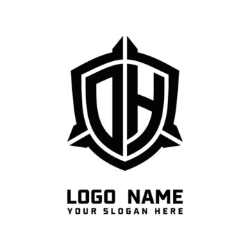 initial DH letter with shield style logo template vector. shield shape black monogram logo