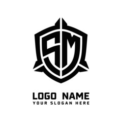 initial SM letter with shield style logo template vector. shield shape black monogram logo
