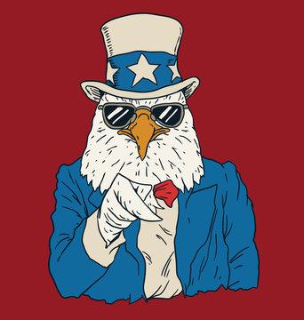 Vintage American bald eagle dressed as Uncle Sam.
