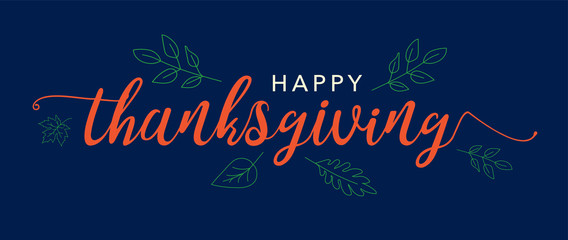 Wall Mural - Happy Thanksgiving Text Vector Banner with Leaves Illustration and Blue Background