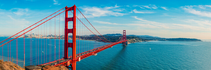 Photo sur cadre textile Bleu jean Golden Gate Bridge panorama, San Francisco California