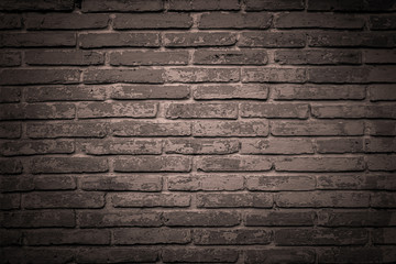 Printed roller blinds Brick wall Abstract dark coloring stone blocks wall photo. Vintage pastel brown old stone bricks with cracking and decay colored textured background. Grunge wallpaper or antique backdrop design.