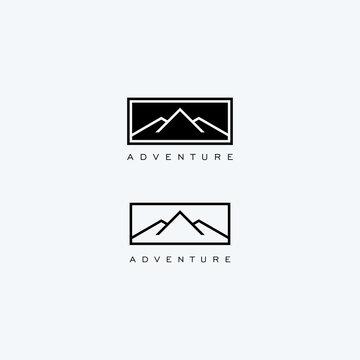 Abstract linear mountain logo icon design modern minimal style illustration vector.