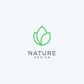 Abstract linear leaf logo icon design modern minimal style illustration vector.