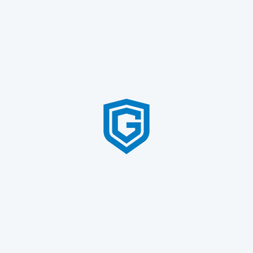 Abstract linear letter initial G shield logo icon design modern minimal style illustration vector.