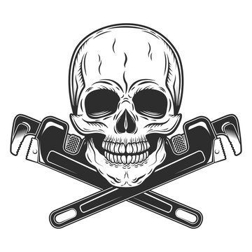 Vintage monochrome skull builder from new construction with crossed wrenches plumbing and gas pipes isolated vector illustration