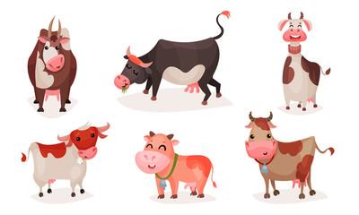 Set of cute cartoon cows. Vector illustration.