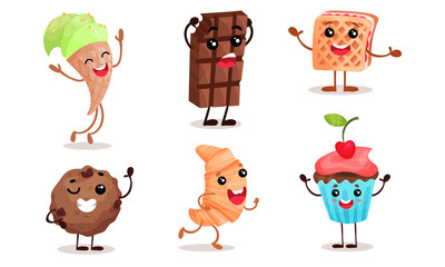 Cartoon sweets with face, arms and legs. Vector illustration.