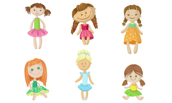 Set of fabric dolls in dresses. Vector illustration.