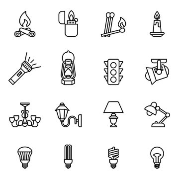 Source of light icon set with white background. Thin line style stock vector.