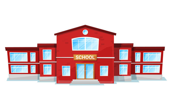 School in red color, educational architecture with big windows. Exterior of studying construction, schoolhouse object, front view of learning building. Vector illustration in flat cartoon style