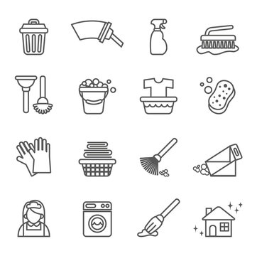 cleaning icons set with white background. Thin line style stock.