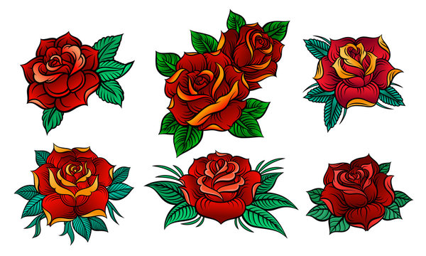 Six Beautiful Roses In Old Tattoo Style Vector Illustrations Set