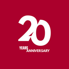 20 years anniversary vector icon, logo. Design element with composition of digit and text