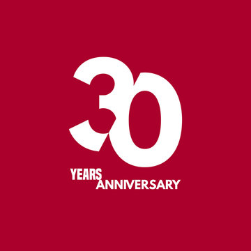 30 years anniversary vector icon, logo. Design element with composition of digit and text