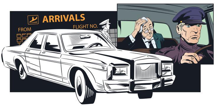 Limousine driver meets businessman at airport.