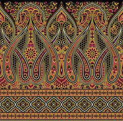Seamless Asian textile floral border on black background