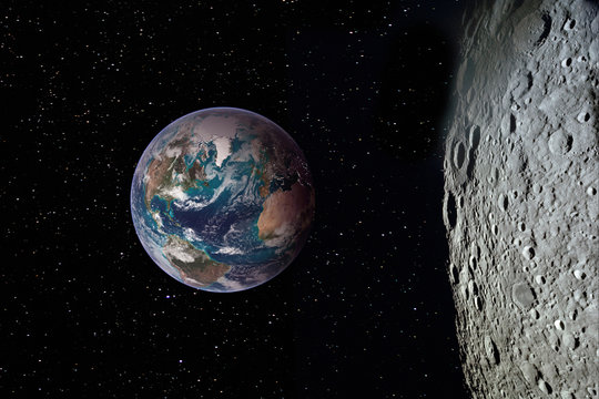 Moon surface and Earth on the horizon. Space art fantasy. Elements of this image furnished by NASA