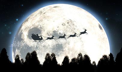 Moon And Santas Sleigh Silhouette