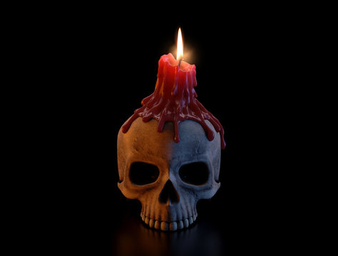 Skull And Melted Lit CAndle