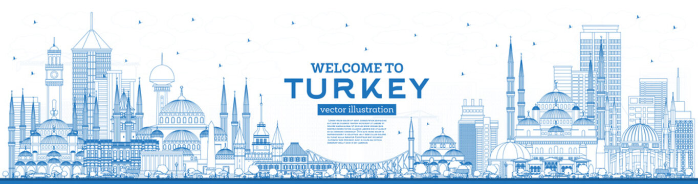 Outline Welcome to Turkey Skyline with Blue Buildings.